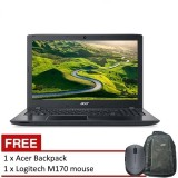 Acer Aspire E15 (E5-553G-15XA) - 15.6-inch/AMD QC A12-9700P/4GB DDR4/1TB/W10 (Black) + FREE Backpack & Logitech m170 Mouse