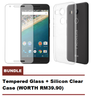 LG Nexus 5x Tempered Glass & Silicon Clear Case Bundle