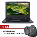 Acer Aspire E14 (E5-475G-50N0) - 14-inch/i5-7200U/4GB /128GB+1TB/NV 940MX/W10 (Gray) + FREE Backpack