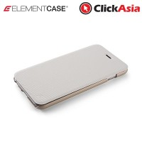 """Element Soft-Tec Wallet Case for iPhone 6  (White """"Tech Grip"""" / Gold Suede)"""