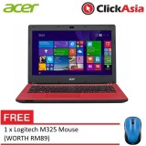 "Acer Aspire ES14 (ES1-432-C8AR) - 14"" HD LED /Celeron N3350 / 4GB DDR3L / 500GB / Integrated / W10 (Red) FREE Logitech m325"