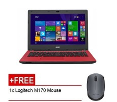 "Acer Aspire ES14 (ES1-432-C8AR) - 14"" HD LED /Celeron N3350 / 4GB DDR3L / 500GB / Integrated / W10 (Red) FREE Logitech m170"