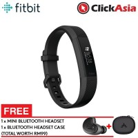 Fitbit Alta HR Fitness Watch Gunmetal – Large (FB408GMBKL)+FREE Mini Bluetooth Headset