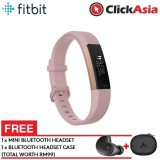 Fitbit Alta HR Fitness Watch Pink Gold –Small (FB408RGPKS)+FREE Mini Bluetooth Headset