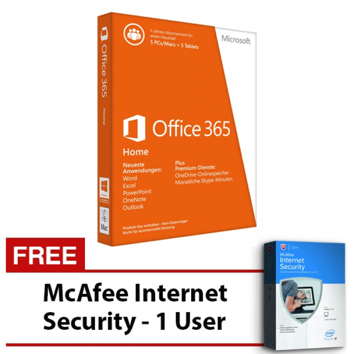 microsoft office 365 home 5 users using pcsmacs tablets phones free mcafee internet security 1 user