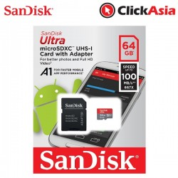 SanDisk Ultra A1 64GB microSD Memory Card - 100mb (SDSQUAR-064G-GN6MA) + SD Adapter