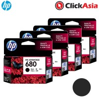 HP 680 Black Ink (F6V27AA) x 4