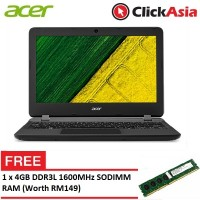 "Acer Aspire ES 11 (ES1-132-C7PZ) - 11.6"" HD LED / Celeron N3350 / 2GB DDR3L / 500GB / Integrated / W10 (Black)"