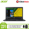 "Acer Aspire 3 (A315-32-C6SE) 15.6"" HD LED / Intel Cel N4000 / 4GB DDR4 / 500GB / W10 (Black) + FREE Backpack + Mouse"