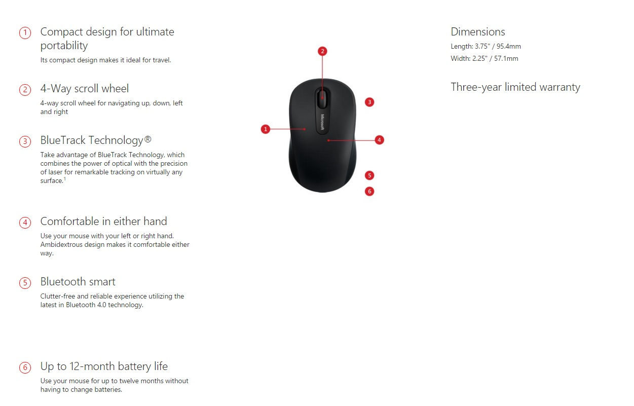 Microsoft Bluetooth Mobile Mouse 3600 Dark Red Pn7 00015 Other Information 1 Aa Alkaline Batteries Included 1x